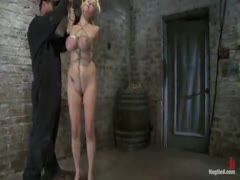 Katie Cox and her huge tits are bound and a cock is jammed down her throat.  Tight Bondage, Great deep throat!