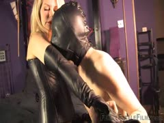 Sanesually sadistic blonde mood in tight leathers