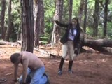 Escaping slave gets caught and punished outdoors