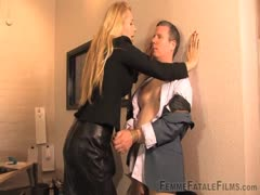 Office manager dominates her male employee
