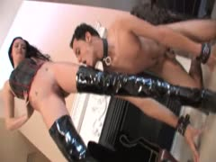 Male slave worshiping mistress boots