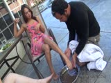 Foot slave cleaning dirty feet