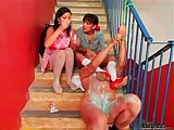 Obscene man get played and dominated with cruel teens