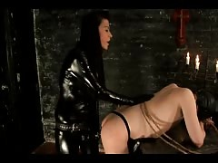 Latex MILF bound slave and destroy his ass