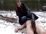 CFNM bitch want some fetish fun in the snow outdoors