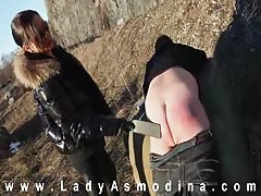Severe ass spanking from evil mistress