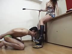 Asian mistress with her new pet