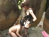 Kinky young Asian domme epic strapon domination outdoors