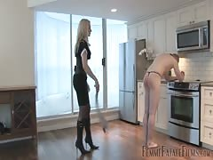 Blonde MILF gets tough with her nude slave