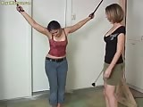 Captured woman whipped and forced to worship mistress feet