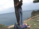 Sub hubby heel trampled outdoors