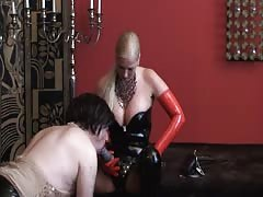 Dirty slave takes hard pegging