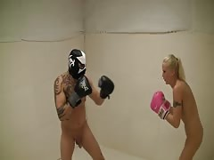 Boxing match from a nasty blonde