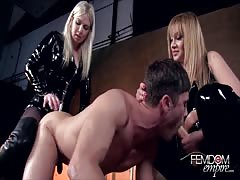Pegging session from nasty strapon mistresses