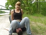 Hard jeans sitting outdoor