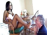 Candice Nicole owns an old white male slave