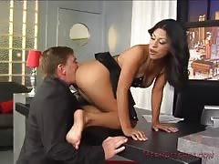 Ass and pussy worshiping in the office