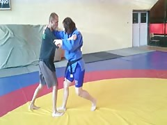 Mixed wrestling with strong girl