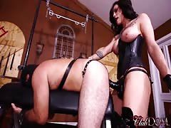 Bitch slave in black boots gets asshole pegged